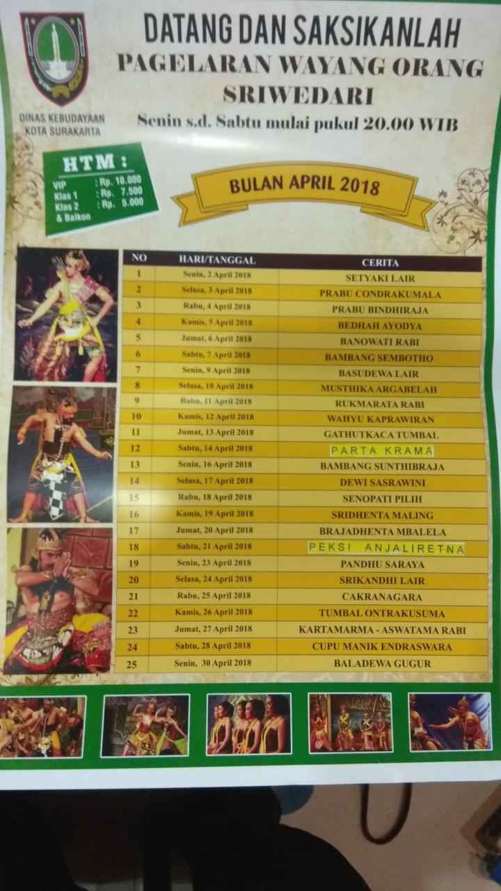 JADWAL WAYANG ORANG SRIWEDARI BULAN APRIL 2018